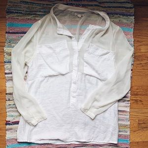 UO Silence & Noice White Flowy Blouse Top